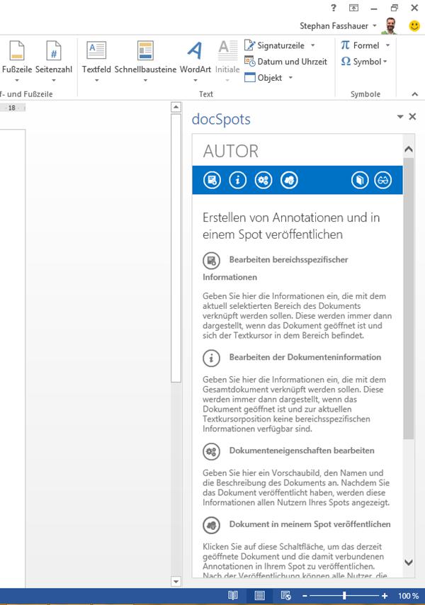 Word App: docSpots